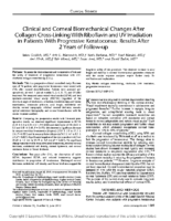 Clinical and Corneal Biomechanical Changes After Collagen Cross-Linking With Riboflavin and UV Irradiation in Patients With Progressive Keratoconus: Results After 2 Years of Follow-up