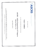 certificate ASCRS 2012